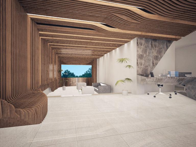 طراحی-معماری-لابی-ساختمان-اداری-تجاری-پسیان